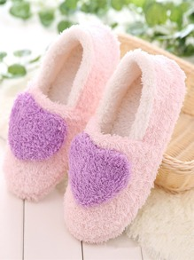 Heart Decor Fluffy Slippers