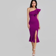 One Shoulder Slit Pep Hem Dress