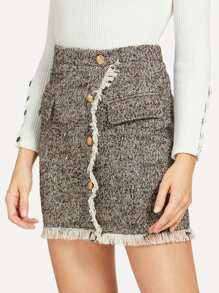 Button Up Frayed Trim Skirt