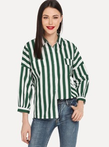 Striped Print Drop Shoulder Shirt