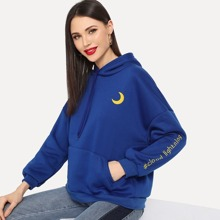 Moon & Letter Embroidered Drawstring Hoodie