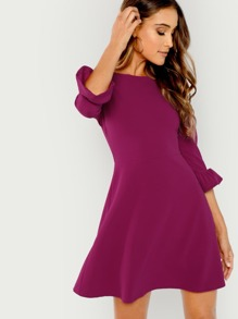 Ruffle Cuff Fit And Flare Dress