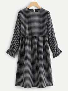 Flounce Sleeve Plaid Dress