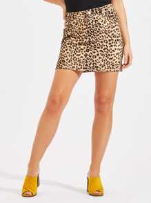 Zip Fly Leopard Skirt