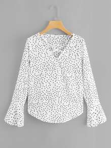 Polka Dot Criss Cross Blouse