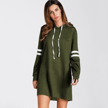 Image of Varsity Striped Hooded Dress