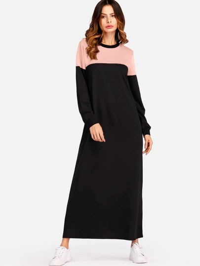 Color Block Maxi Sweat Dress