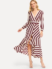 Ruffle Hem Striped Dress