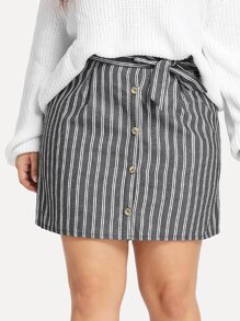 Plus Striped Knot Single Button Skirt