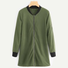 Contrast Ribbed Trim Zip Front Outerwear