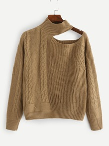 Solid Cut Out Cable Knit Jumper