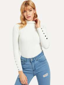 Snap Button High Neck Jumper