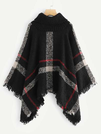 Turtleneck Checked Fringe Poncho Sweater