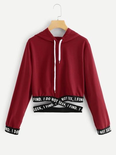 buy online 3a00f 93a78 Felpa con cappuccio e orli con scritte