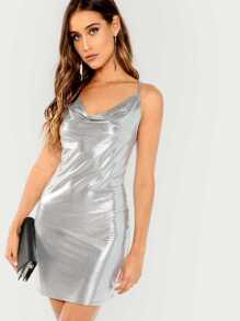 Cowl Neck Metallic Cami Dress