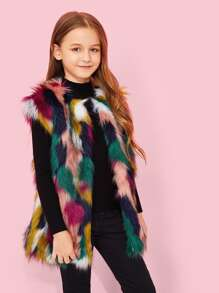 Girls Colorful Faux Fur Vest