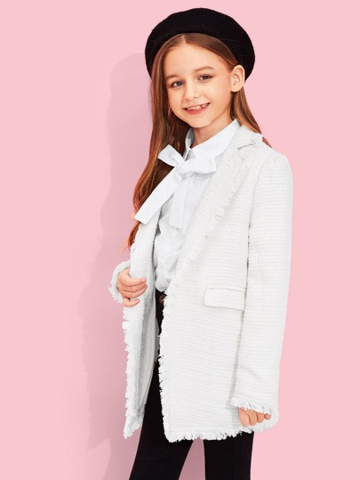 Girls Button & Pocket Front Notched Neck Coat