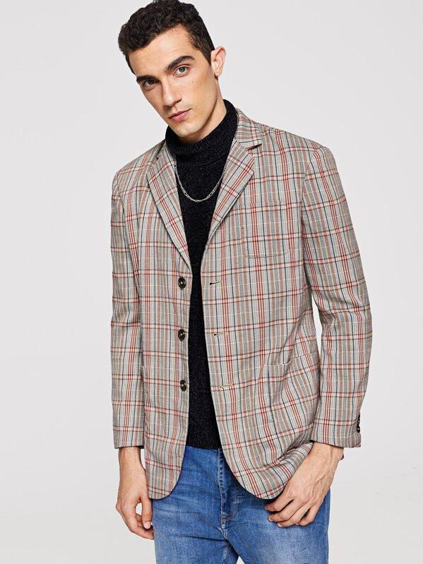 a010b22c446e Men Single Breasted Plaid Print Blazer   SHEIN IN