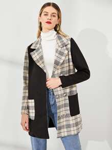 Single Breasted Pocket Notched Neck Plaid Blazer
