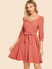 Button Front Belted Fit & Flare Dress