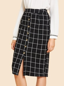 Button Front Grid Skirt