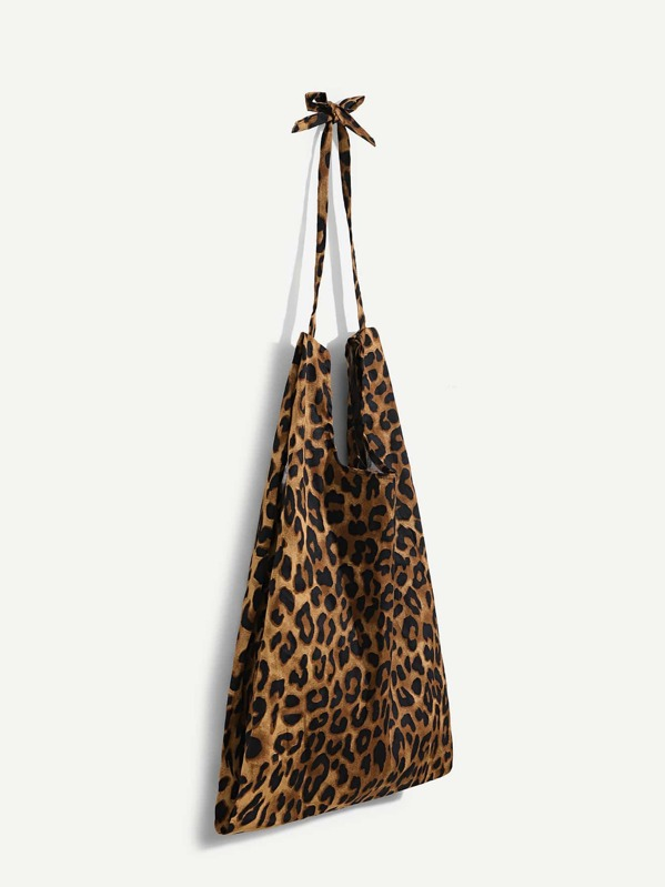 9b56998e64 Leopard Pattern Tote Bag With Knotted Handle