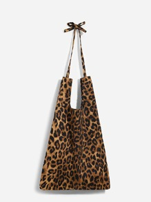 Leopard Pattern Tote Bag With Knotted Handle