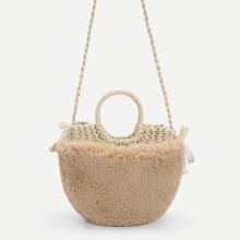 Girls Faux Fur Design Straw Satchel Bag