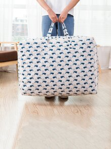 Dolphin Overlay Print Large Storage Bag