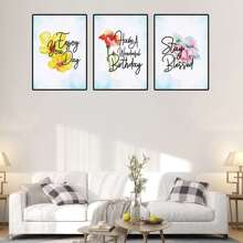 Flower Print Cloth Wall Art 3pcs