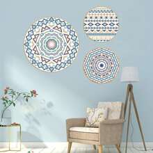 INOpets.com Anything for Pets Parents & Their Pets Geometric Pattern Round Cloth Wall Art 3pcs
