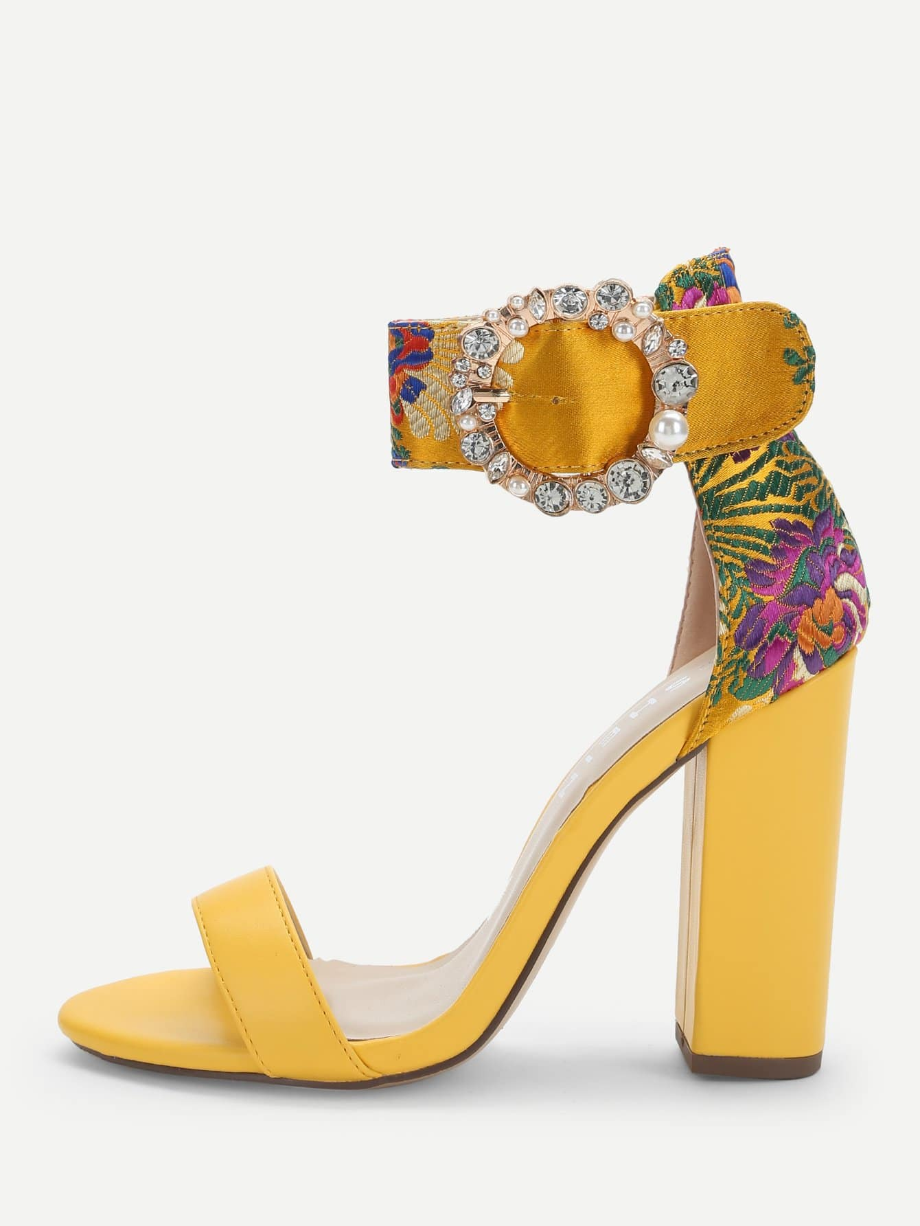 98f56ad8c751 Flower Embroidery Single Band Heels EmmaCloth-Women Fast ...