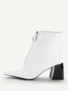 Zipper Front Point Toe Ankle Boots