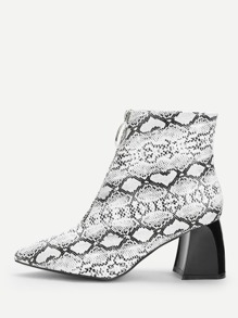 Snake Print Point Toe Ankle Boots
