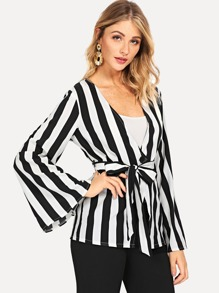 Button Front Belted Striped Blazer