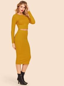 2b9535cb1e Cheap Rib Knit Crop Tee & Pencil Skirt Set for sale Australia | SHEIN
