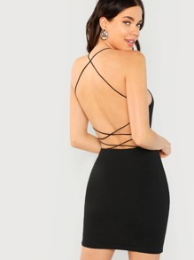 Crisscross Backless Fitted Dress