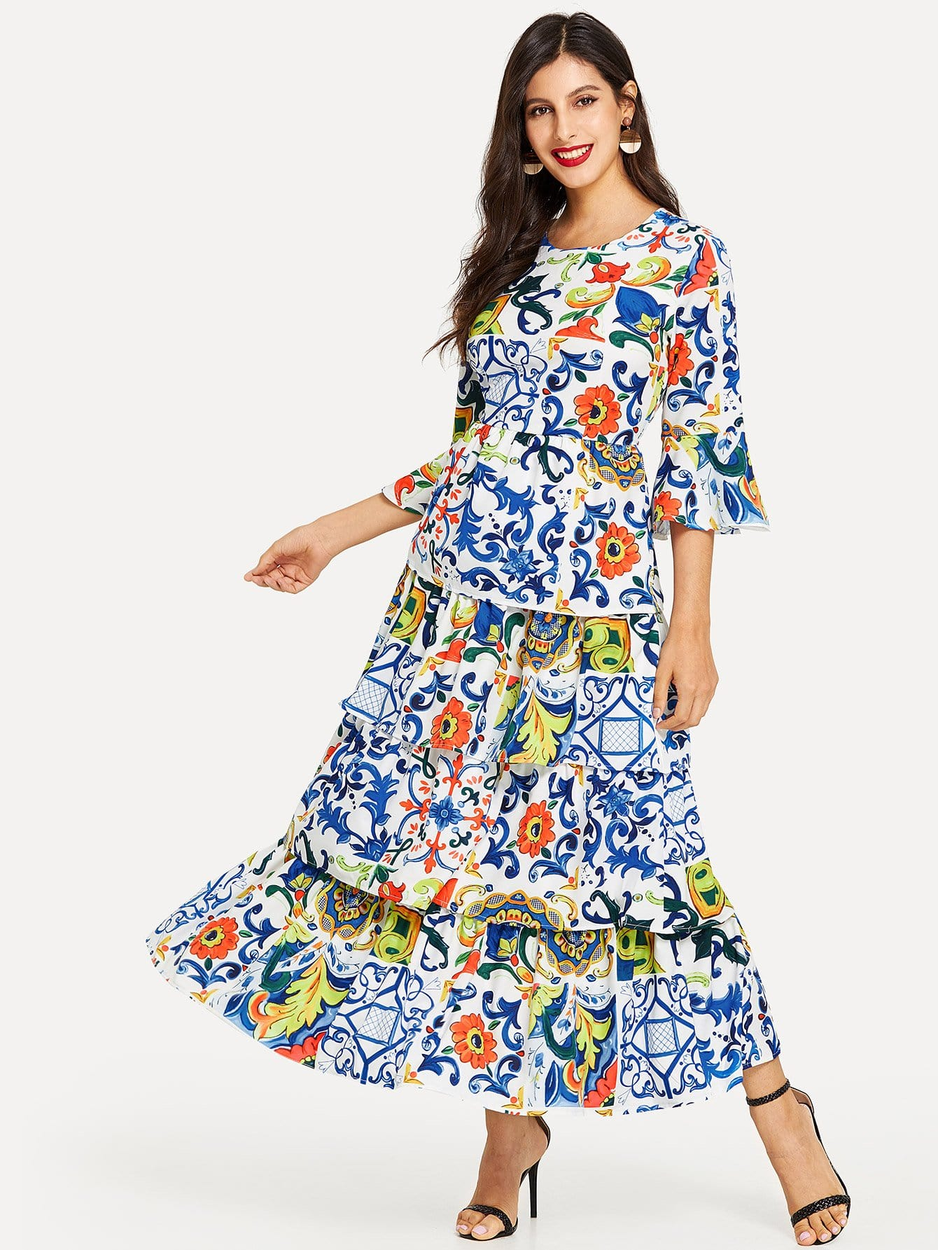 5167dcf8edfea Bell Sleeve Floral Tiered Layered Dress EmmaCloth-Women Fast ...