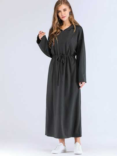 Drawstring Waist Split Side Longline Hooded Dress