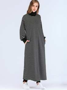 Drop Shoulder High-Neck Longline Stripe Dress