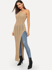 One-Shoulder Split Side Longline Sweater