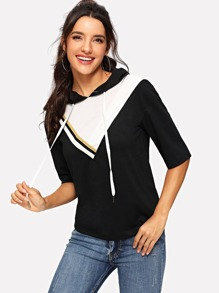 Color Block Hooded Top