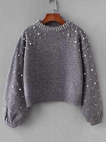 Faux Pearl Drop Shoulder Sweater
