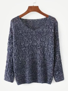 Marled Pointelle Drop Shoulder Sweater