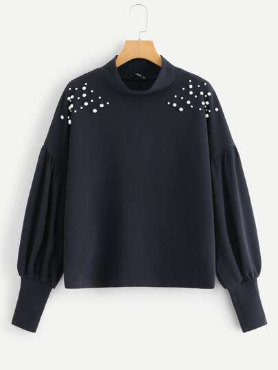 Mock Neck Pearl Embellished Drop Shoulder Sweatshirt