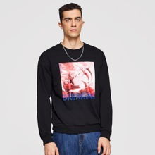 Men Mixed Print Pullover
