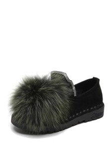 Fluffy Pom Pom Decor Flats
