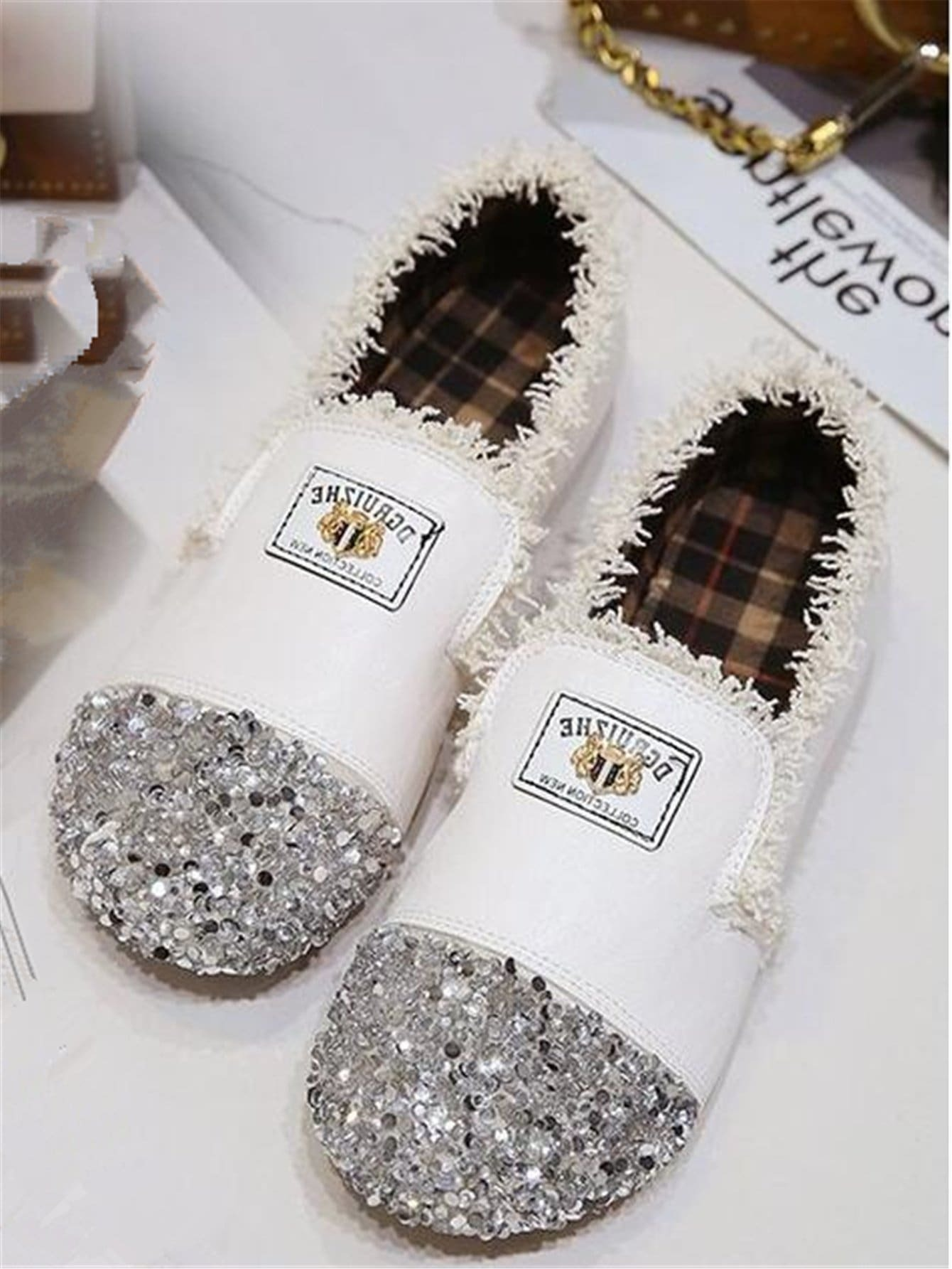 Raw Trim Glitter Toe Flats | ROMWE
