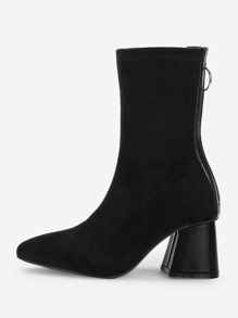 Back Zipper Plain Boots