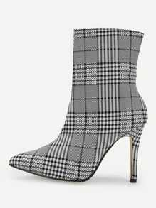 Side Zipper Plaid Boots